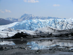 The Matanuska Glacier is a large ice flow, 27 miles long and 4 miles wide at the terminus, averaging approximately 2 miles in width.